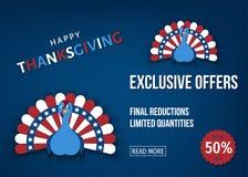 Bannière exclusive de vecteur d'offre de jour de thanksgiving illustration de vecteur