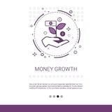 Bannière financière de Web d'affaires de succès de croissance d'argent avec l'espace de copie illustration stock