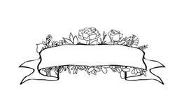 Bannière florale de ruban Bannières florales de vintage tiré par la main de vecteur Illustration d'encre de croquis Bannière avec Image libre de droits