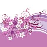 Bannière florale rose sur le fond blanc Photo libre de droits