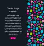 Bannière géométrique avec des cercles Texture colorée avec des formes multicolores sur le fond foncé illustration stock