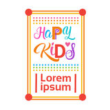 Bannière gaie d'enfants de Logo Kindergaten Or School For d'enfants heureux Image libre de droits