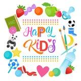 Bannière gaie d'enfants de Logo Kindergaten Or School For d'enfants heureux Photo stock