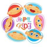 Bannière gaie d'enfants de Logo Kindergaten Or School For d'enfants heureux Photographie stock