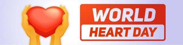 Bannière globale de jour de coeur horizontale, style de bande dessinée illustration stock