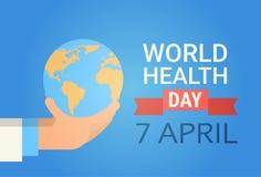 Bannière globale de vacances de jour du monde de santé de planète de médecin Hand Hold Earth illustration de vecteur