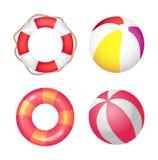 Bannière gonflable de vecteur d'ensemble d'anneau et de ballon de plage illustration de vecteur