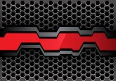 Bannière grise rouge abstraite de polygone sur le vecteur futuriste moderne de fond de conception de maille d'hexagone en métal illustration libre de droits