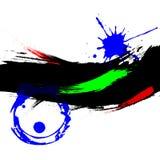 Bannière grunge à l'encre noire avec rouge et bleu Photographie stock libre de droits