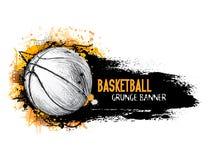 Bannière grunge de vecteur tiré par la main avec la boule de basket-ball Photo libre de droits
