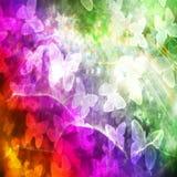 Bannière grunge de vintage de texture d'arc-en-ciel de papillons Images libres de droits