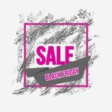 Bannière grunge noire de cadre de vendredi Gouttes, tache Images stock