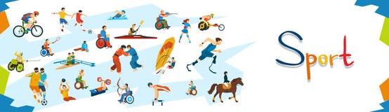 Bannière handicapée de compétition sportive d'athlètes Photo stock
