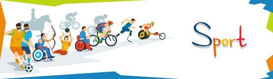 Bannière handicapée de compétition sportive d'athlètes Images libres de droits