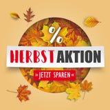 Bannière Herbstaktion de papier d'Autumn Cover Hole Foliage White Photographie stock libre de droits