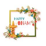 Bannière heureuse d'Onam avec les fleurs et la lampe Image libre de droits