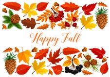 Bannière heureuse de chute avec la frontière de feuille d'automne illustration libre de droits