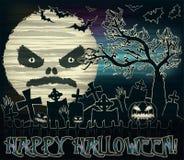 Bannière heureuse de Halloween avec la lune et le cimetière illustration stock