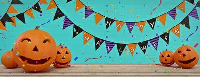 Bannière heureuse de Halloween avec le rendu des potirons 3d images stock