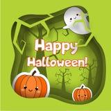Bannière heureuse de Halloween avec les caractères et les potirons mignons de fantôme Fond de partie dans la coupe de papier, sty illustration de vecteur