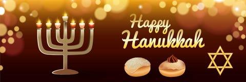 Bannière heureuse de Hanoucca de vacances, style réaliste illustration libre de droits