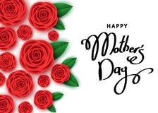 Bannière heureuse de jour du ` s de mère avec les roses rouges, lettrage tiré par la main Photo stock
