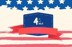 Bannière heureuse de Jour de la Déclaration d'Indépendance Le quatrième juillet Illustration de vecteur illustration de vecteur