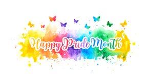 Bannière heureuse de mois de fierté de LGBT avec l'éclaboussure et les papillons colorés d'aquarelle d'arc-en-ciel Illustration illustration stock