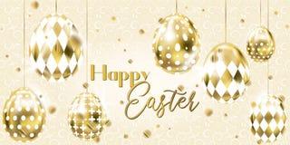 Bannière heureuse de Pâques avec les oeufs d'or image stock