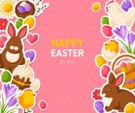 Bannière heureuse de rose de Pâques avec les autocollants plats Photographie stock libre de droits