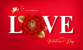Bannière heureuse de Saint-Valentin avec la belle fleur colorée canette illustration stock