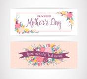 Bannière heureuse de salutation de lettrage de jour de mères avec des fleurs illustration de vecteur