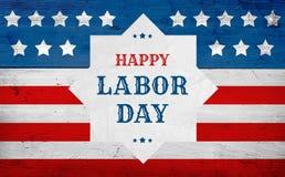 Bannière heureuse de salutation de Fête du travail, drapeau des Etats-Unis Photo libre de droits