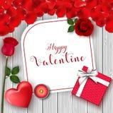 Bannière heureuse de salutation de jour du ` s de Valentine Vue supérieure sur romantique avec le boîte-cadeau et le coeur rouge  Photo libre de droits