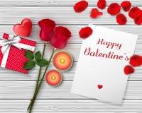 Bannière heureuse de salutation de jour du ` s de Valentine Vue supérieure sur romantique avec le boîte-cadeau et le coeur rouge  Photographie stock libre de droits