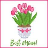 Bannière heureuse de salutation de lettrage de jour de mères avec des fleurs Illustration de vecteur Image libre de droits