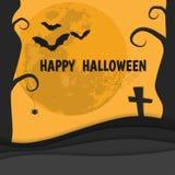 Bannière heureuse de vecteur de Halloween de silhouette orange Images stock