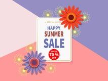 Bannière heureuse de vente d'été Illustration Libre de Droits