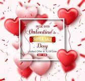 Bannière heureuse de vente de jour du ` s de Valentine avec les coeurs et les confettis rouge-rose Offre limitée 50% outre de ven Photographie stock libre de droits