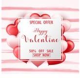 Bannière heureuse de vente de jour du ` s de Valentine avec les coeurs roses et rouges Photos libres de droits