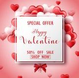 Bannière heureuse de vente de jour du ` s de Valentine avec les coeurs roses et rouges Image libre de droits