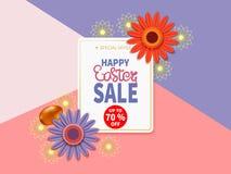 Bannière heureuse de vente de Pâques Photographie stock