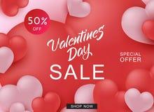 Bannière heureuse de Web de Valentine Day Sale avec les coeurs rouges et roses illustration stock