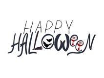 Bannière heureuse des textes de Halloween, carte, fond illustration libre de droits