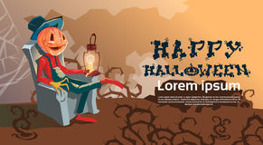 Bannière heureuse Jack With Pumpkin Scary Face Sit In Chair de Halloween Image libre de droits