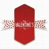 Bannière heureuse rouge et d'or de jour de valentines Photographie stock