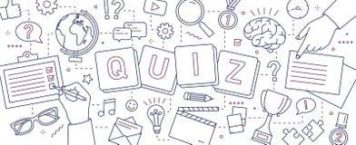 Bannière horizontale avec des mains des personnes résolvant des puzzles, questions de réponse de jeu-concours, jouant des jeux de illustration stock
