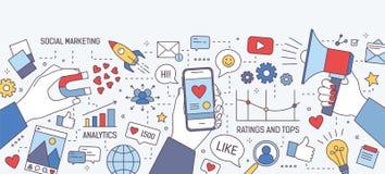 Bannière horizontale avec des mains tenant l'aimant, le mégaphone et le smartphone avec le coeur sur l'écran entouré par des symb illustration de vecteur