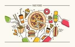 Bannière horizontale avec des mains tenant les repas de rapide savoureux - pizza, hot-dog, nouilles Produits délicieux moderne Images libres de droits