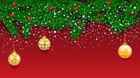 Bannière horizontale avec la guirlande et les ornements d'arbre de Noël Or et rubans accrochants Grand pour des insectes, affiche illustration de vecteur